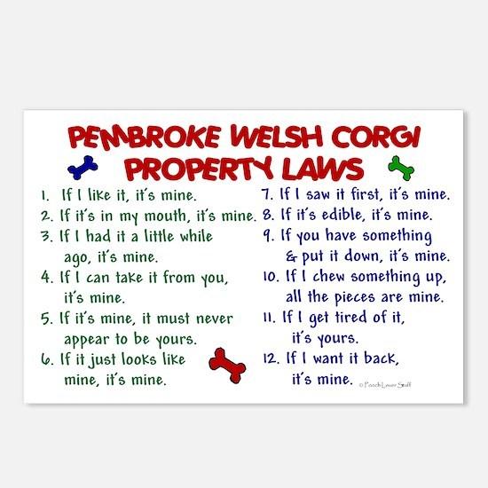 Pembroke Welsh Corgi Property Laws 2 Postcards (Pa