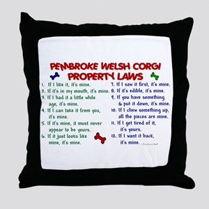 Pembroke Welsh Corgi Property Laws 2 Throw Pillow