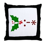 Kiss Emoticon - Mistletoe Throw Pillow