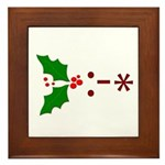Kiss Emoticon - Mistletoe Framed Tile