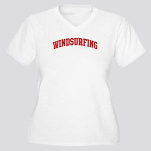 Windsurfing (red curve) Women's Plus Size V-Neck T