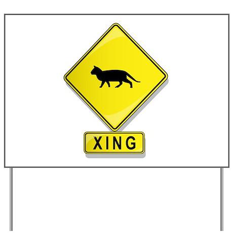 Cat XING Yard Sign