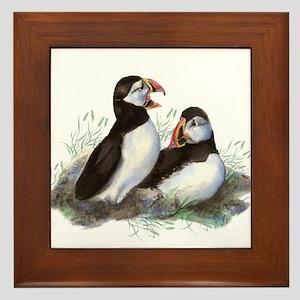 Watercolor Puffin Bird Nature art Framed Tile