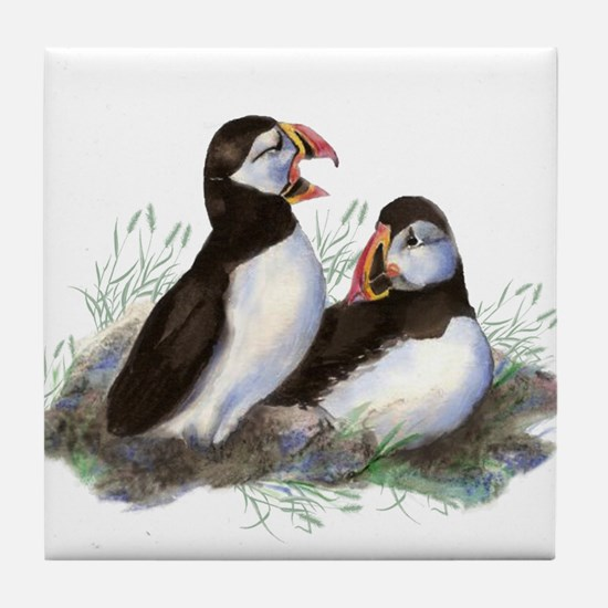 Watercolor Puffin Bird Nature art Tile Coaster