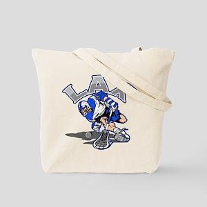 Lacrosse Player In Blue Tote Bag
