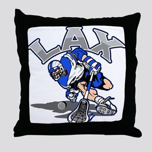 Lacrosse Player In Blue Throw Pillow
