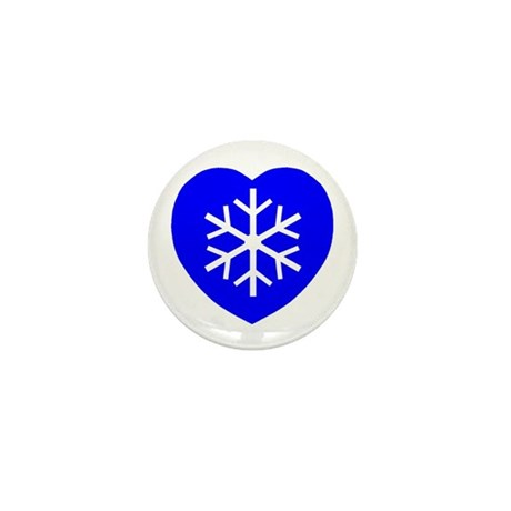 Love Blue Snowflake Heart Mini Button