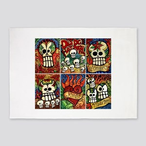 Day of the Dead Sugar Skulls 5'x7'Area Rug