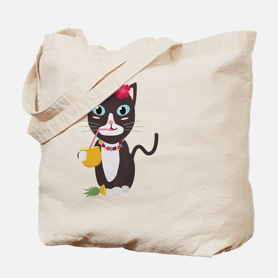Hawaii cat with pineapple Tote Bag
