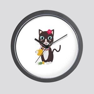 Hawaii cat with pineapple Wall Clock