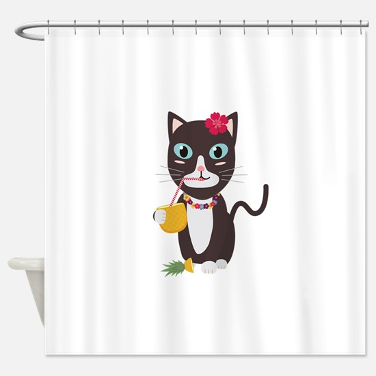 Hawaii cat with pineapple Shower Curtain