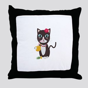Hawaii cat with pineapple Throw Pillow