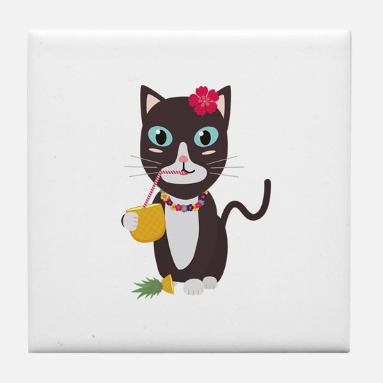 Hawaii cat with pineapple Tile Coaster