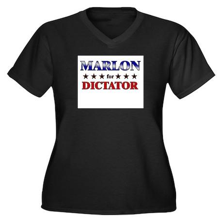 MARLON for dictator Women's Plus Size V-Neck Dark