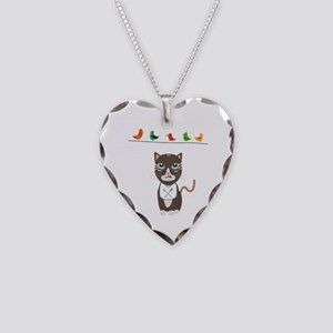 Hungry cat with birds Necklace Heart Charm