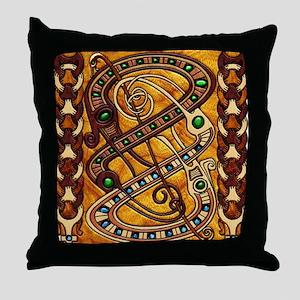 Harvest Moons Viking Dragons Throw Pillow