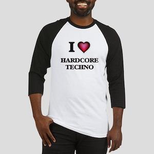 I Love HARDCORE TECHNO Baseball Jersey