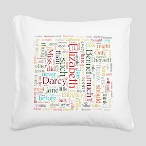 Pride & Prejudice Word Cloud Square Canvas Pillow