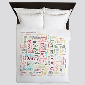 Pride & Prejudice Word Cloud Queen Duvet