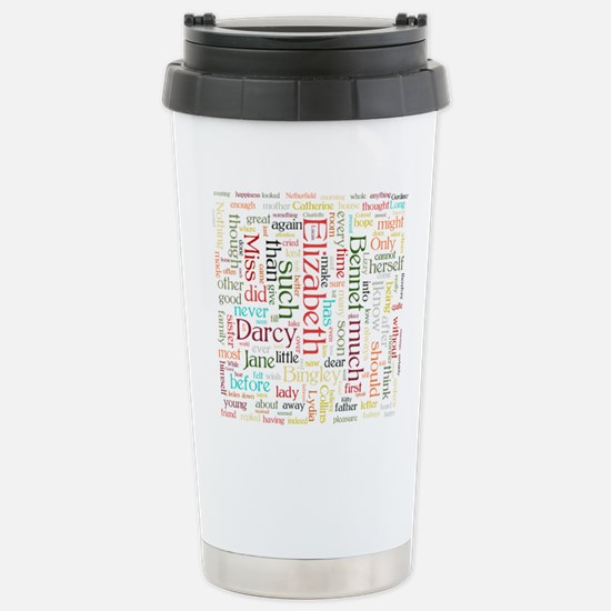 Pride & Prejudice Word Cloud Travel Mug