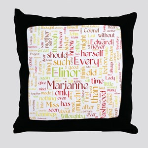 Sense & Sensibility Word Cloud Throw Pillow