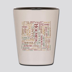 Sherlock Holmes Word Cloud Shot Glass