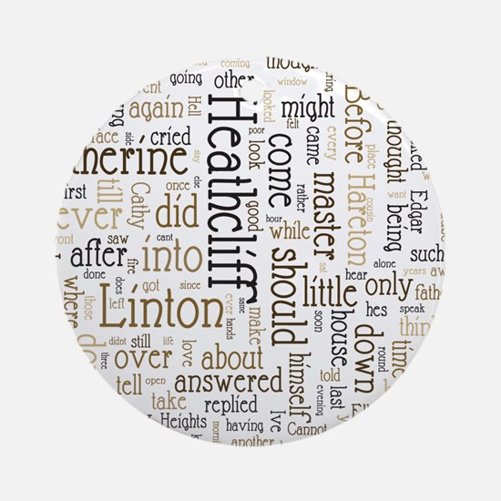 Wuthering Heights Word Cloud Round Ornament