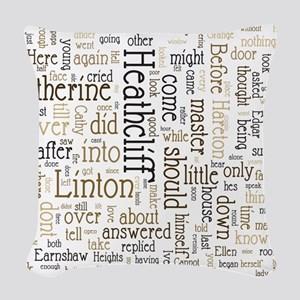 Wuthering Heights Word Cloud Woven Throw Pillow