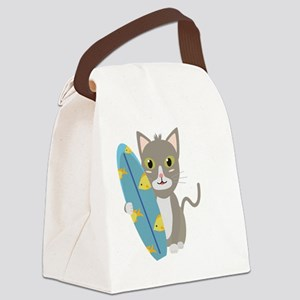 Cat with surfboard Canvas Lunch Bag