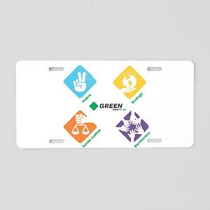 Green Party 4 Pillars Aluminum License Plate
