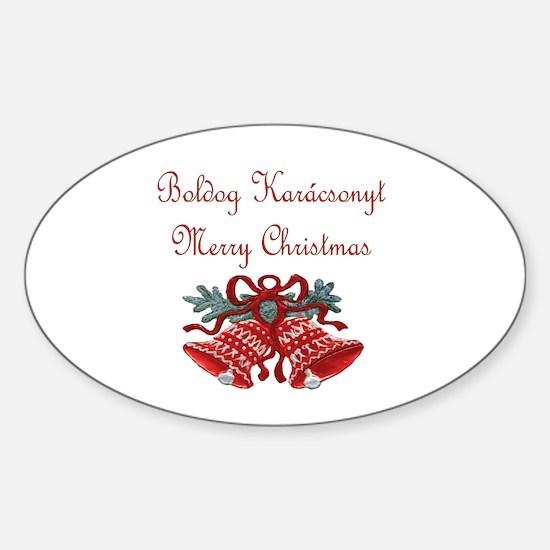 Hungarian Christmas Oval Decal