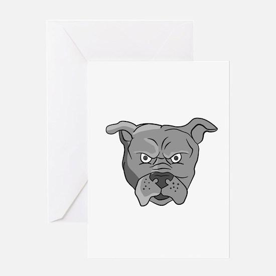 Angry Bulldog Head Cartoon Greeting Cards