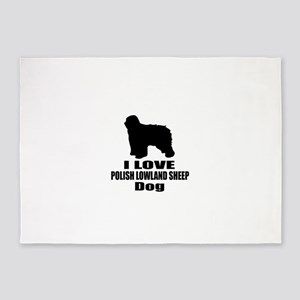 I Love Polish Lowland Sheep Dog 5'x7'Area Rug