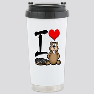 Funny I Love Beaver Travel Mug