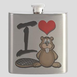 Funny I Love Beaver Flask