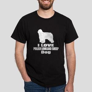 I Love Polish Lowland Sheep Dog Dark T-Shirt