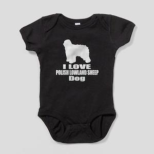 I Love Polish Lowland Sheep Dog Baby Bodysuit