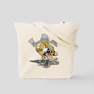 Lacrosse Player Gold Uniform Tote Bag