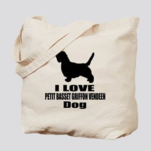 I Love Petit basset griffon vendeen Dog Tote Bag