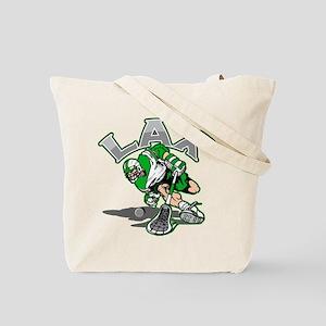 Lacrosse Player Green Uniform Tote Bag