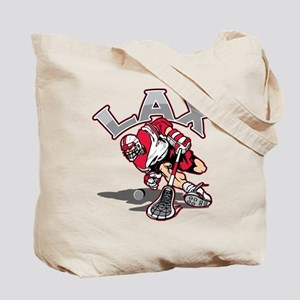 Lacrosse Player Red Uniform Tote Bag