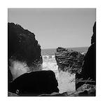 Ocean (b/w) Set: Big Sur Rocks Tile Coaster