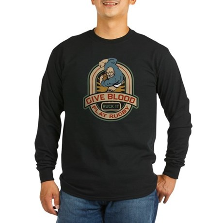 Give Blood Play Rugby Long Sleeve Dark T-Shirt