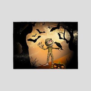 Halloween, Funny mummy 5'x7'Area Rug