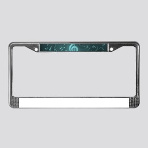 art music notes in blue License Plate Frame