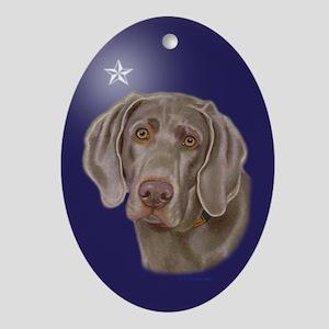 Weimaraner Xmas Star Oval Ornament
