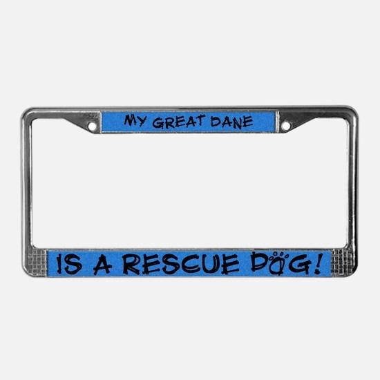 Rescue Dog Great Dane License Plate Frame