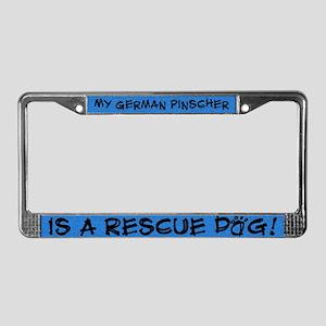 Rescue Dog German Pinscher License Plate Frame