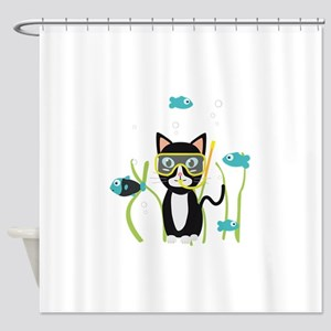 Viking cat Shower Curtain