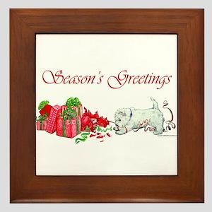 Westie Greetings Framed Tile